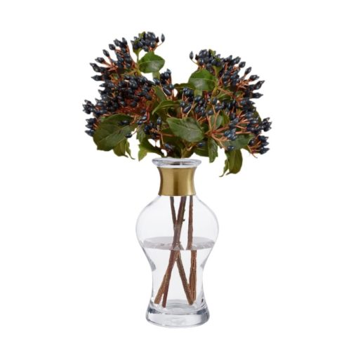 Vase mit Messingring von Nordal, oben bauchig
