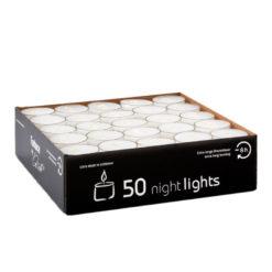 Teelichter nightlights, transparente Hülle, Weiss, ca. 8 h Brenndauer, 38 x 25 mm (50 Stück)