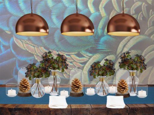 Französische Tischdeko mit IKEA Glasglocke, Nordal Glasvase mit Messingring und Leinenservietten Weiß