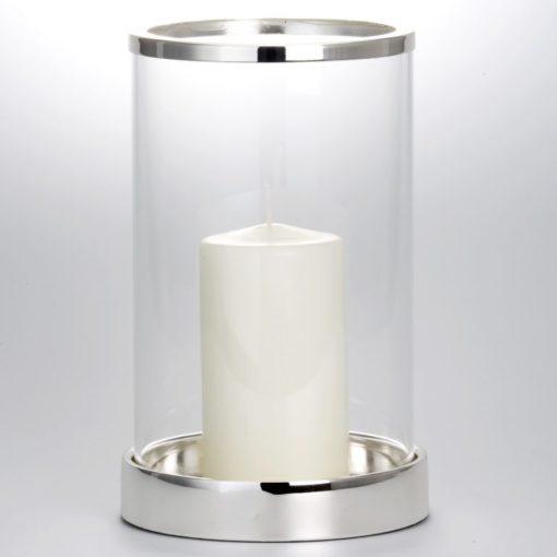 Windlicht versilbert, Korpus Glas, Höhe 26 cm
