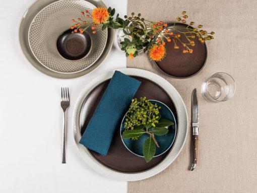 Tischläufer, Tischdecke und Servietten aus Leinen zu Rosenthal Junto Geschirr