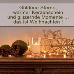 Weihnachtsdeko Sideboard grün und gold mit LSA LIGHT Windlicht und Sterne von Broste Copenhagen