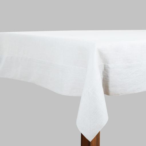 Tischdecke aus Leinen in Weiß, breiter Saum, soft-washed