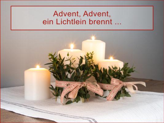 Adventskranz aus Farluce Kerzen mit Tischläufer aus französischem Leinen