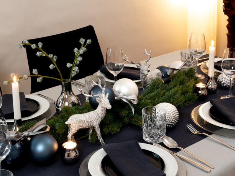 Tischl ufer aus leinen in anthrazit soft washed - Weihnachtsdeko blau ...