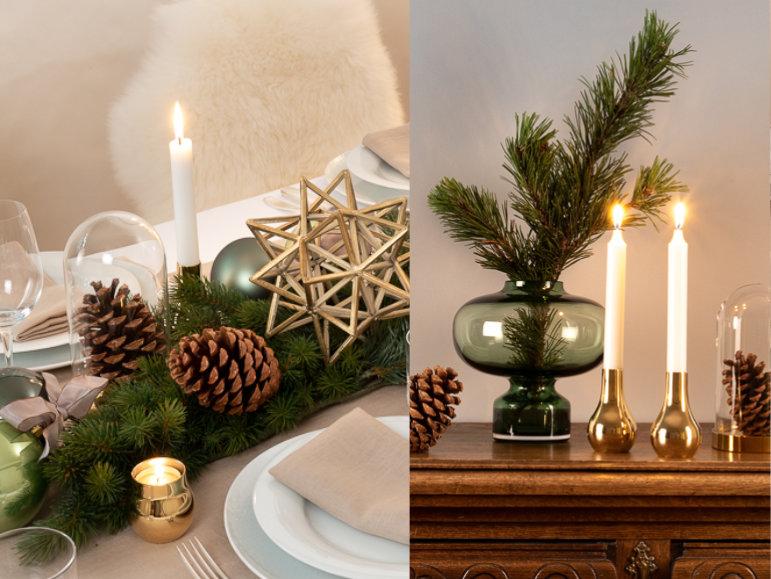 Weihnachtsdeko in Grün und Gold