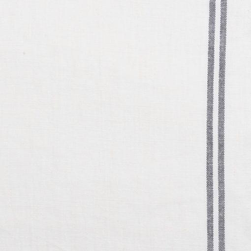 Stoffmuster Leinen Cremeweiss Streifen Anthrazit, französisches Leinen