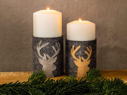 Filzmanschette mit Rentierkopf basteln, DIY, Farluce Kerzen