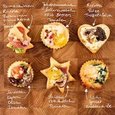 Mini-Pizzen in 6 Variationen als Fingerfood