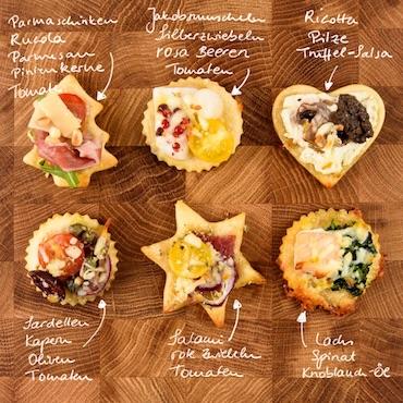 Mini-Pizzen in 6 Variationen als Fingerfood