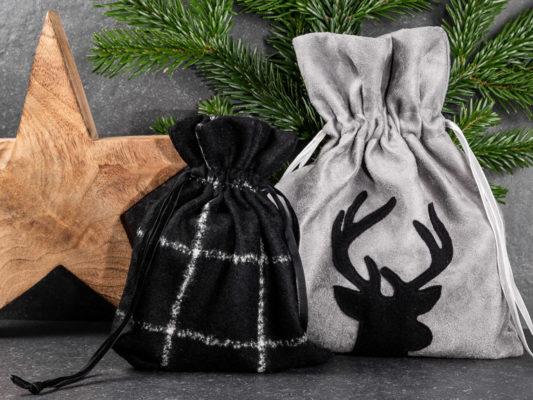 Nachhaltige Geschenkverpackung, edle Geschenksäckchen aus Stoff