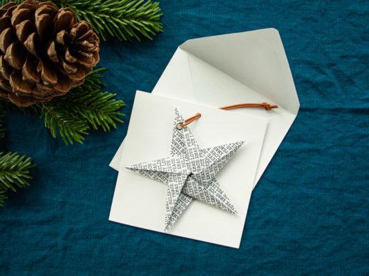 Weihnachtskarten mit Origami-Stern basteln, DIY