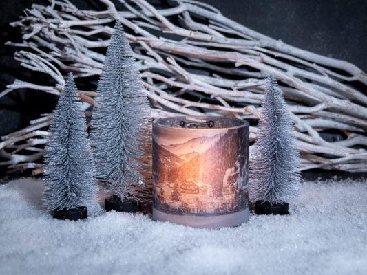 Weihnachtsgeschenke basteln, Windlicht mit Erinnerungsfotos zum Verschenken