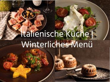 Italienisches Menü, 3-Gänge, winterlich