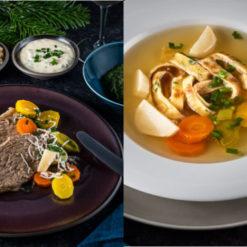 Tafelspitz mit klassischen Beilagen und Suppe vom Tafelspitz