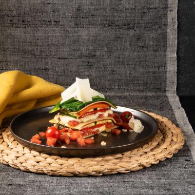 Zitronengras-Lasagene mit gegrilltem Gemüse und Kokosnuss-Bechamel