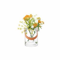 LSA International UTILITY Vase oder Windlicht mit Lederhenkel, mit Blumen