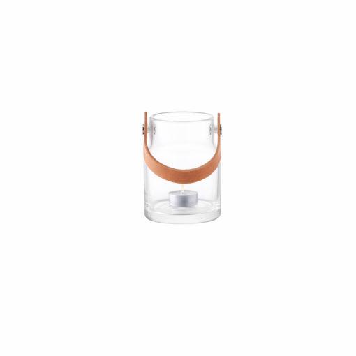 LSA International UTILITY Vase oder Windlicht mit Lederhenkel, mit Teelicht