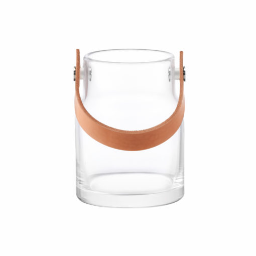 LSA International UTILITY Vase oder Windlicht mit Lederhenkel unten