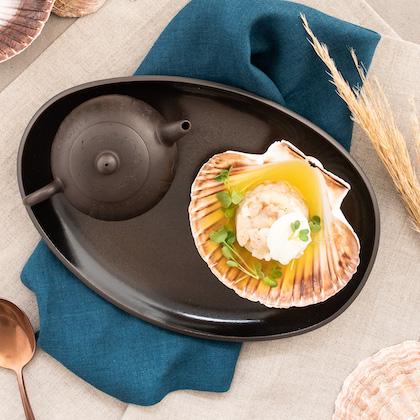 Rezept Tartar von der Regenbogenforelle Deutsche See Fischmanufaktur serviert auf Rosenthal Junto Bronze