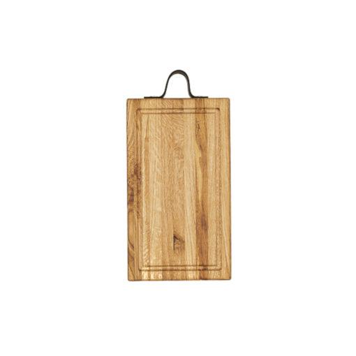 Butcher Block, Hackblock mit Saftrinne und Lederriemen als Haltegriff, Eichenholz, lebensmittelecht, geleimt mit Längsstreifen, 35x20x3,5 cm, von Laura Living Style