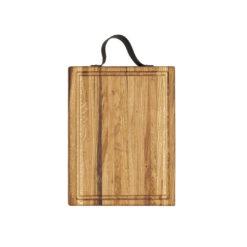 Butcher Block, Hackblock mit Saftrinne und Lederriemen als Haltegriff, Eichenholz, lebensmittelecht, geleimt mit Längsstreifen, 40x30x5 cm, von Laura Living Style