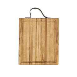 Butcher Block, Hackblock mit Saftrinne und Lederriemen als Haltegriff, Eichenholz, lebensmittelecht, geleimt mit Längsstreifen, 50x40x5 cm, von Laura Living Style