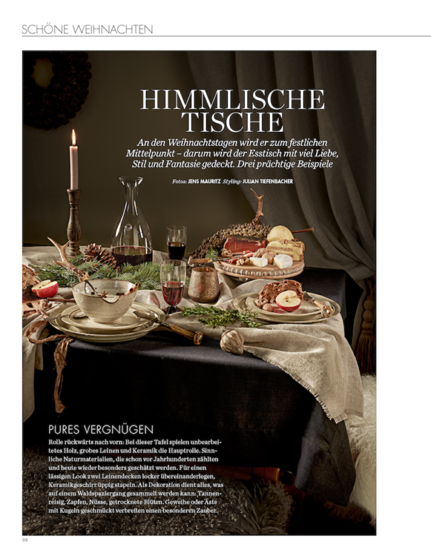 ELLE Decoration Weihnachten 2019 mit DINNER STORIES Tischwäsche