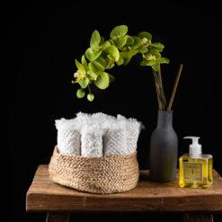 Gästehandtücher Waffelpiqué aus Leinen und Baumwolle mit Vase Anthrazit