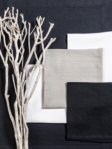 Leinen Servietten Anthrazit, Silbergrau, Weiß und Tischläufer Anthrazit