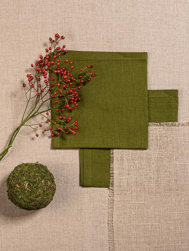 Leinen Servietten Moosgrün, Tischläufer Greige, Tischset Natur offene Schnittkanten