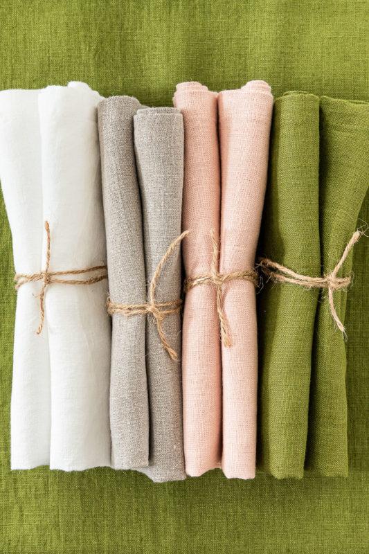 Servietten Leinen Moosgrün, Rosé, Greige und Weiß