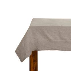 Tischdecke, 100% Leinen, Farbe: Greige mit breitem Saum, hochwertig