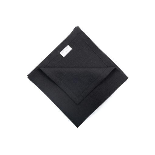 Servietten aus 100% Leinen vorgewaschen in Schwarz mit Label