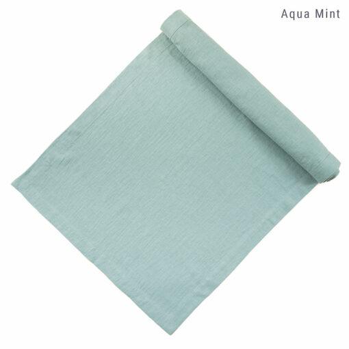 Tischläufer aus Leinen nach Maß in Aqua Mint