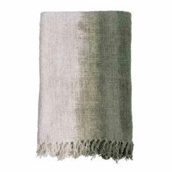 Decke aus handgewebter, recycelter Baumwolle Gradient Oliv