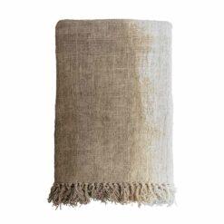 Decke aus handgewebter, recycelter Baumwolle Gradient Braun